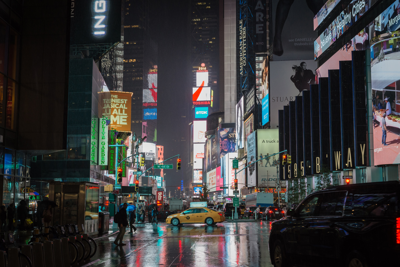 Broadway at rainy night